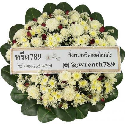 พวงหรีดดอกไม้สด B24